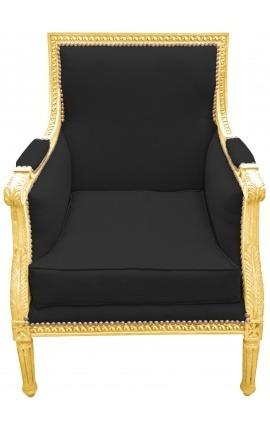 Grande bergère de style Louis XVI velours noir et bois doré