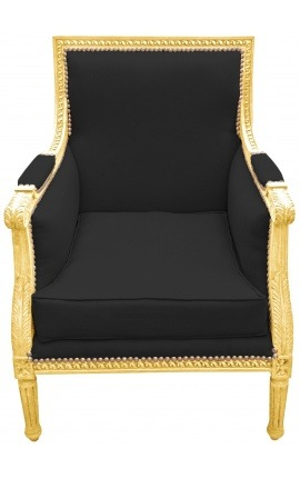 Large Bergère armchair Louis XVI style black velvet and gilded wood