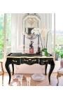 Baroque black writing desk Louis XV style, black writing pad