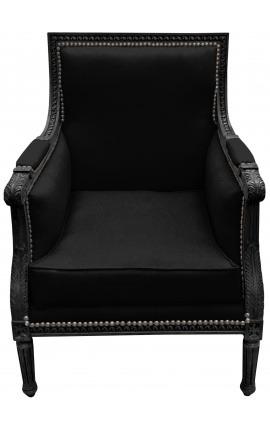 Grande bergère de style Louis XVI velours noir et bois laqué noir