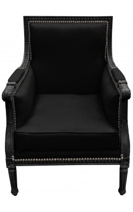Large Bergère armchair Louis XVI style black velvet and black wood
