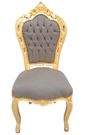 Chaise de style Baroque Rococo velours taupe et bois doré