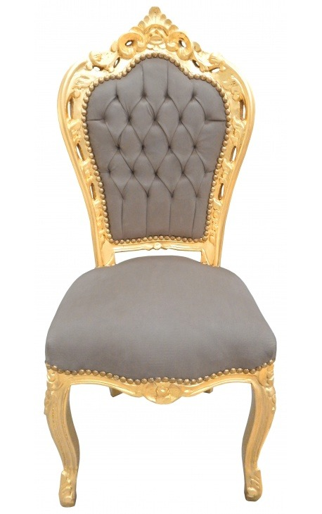 Baroque rococo style chair taupe and gold wood