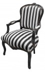 Fauteuil baroque de style Louis XV rayé noir et blanc et bois noir
