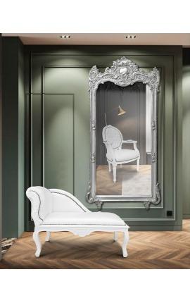 Méridienne de style Louis XV tissu simili cuir blanc et bois laqué blanc