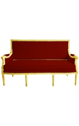 Louis XVI style sofa with burgundy velvet and gold wood