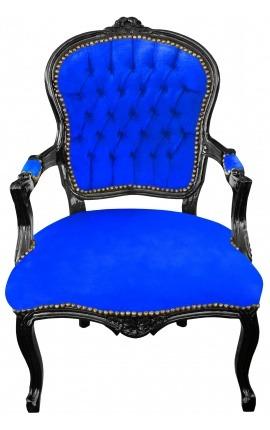 Fauteuil Louis XV de style baroque velours bleu et bois noir