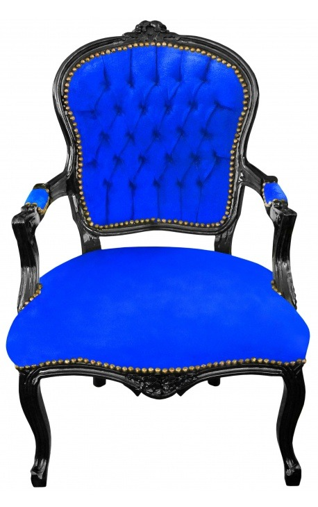 Baroque Louis XV armchair in blue velvet and black wood
