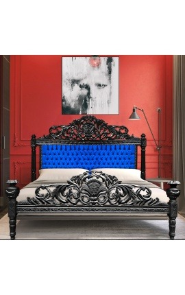 Baroque bed blue velvet fabric and black wood
