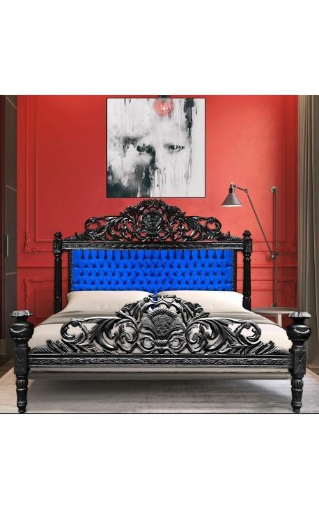Lit Baroque tissu velours bleu et bois laqué noir