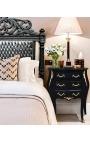 Nightstand (Bedside) baroque wooden black gold bronze