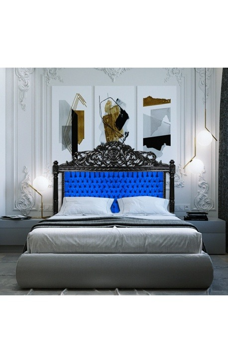 Baroque bed headboard blue velvet and black lacquered wood.