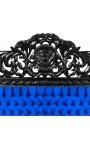 Tête de lit Baroque en velours bleu et bois laqué noir