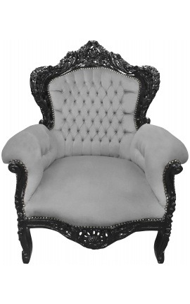 Big baroque style armchair gray velvet fabric and black wood