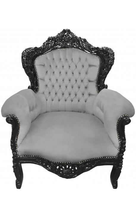 Grand fauteuil de style baroque tissu velours gris et bois noir mat