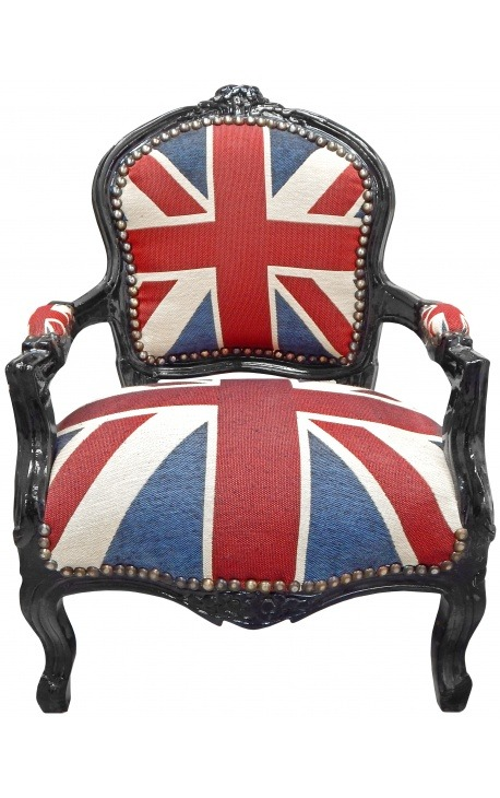 "Baroque armchair for child Louis XV style ""Union Jack"" and black lacquered wood"