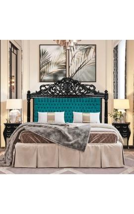 Изголовье кровати в стиле барокко из зеленого бархата и черного лакированного дерева.