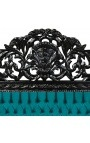 Baroque bed headboard green velvet and black lacquered wood.