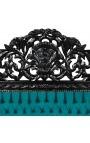 Lit Baroque tissu velours vert et bois laqué noir