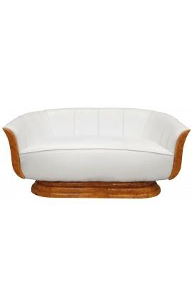 "Sofa ""Tulip"" 3 seater art deco style elm and white leatherette"