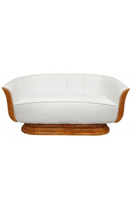 "Sofa ""Tulip"" 3 seater art deco style elm and white leatherette"