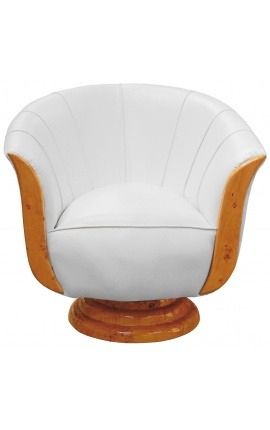 "Armchair ""Tulip"" art deco style elm and white leatherette"