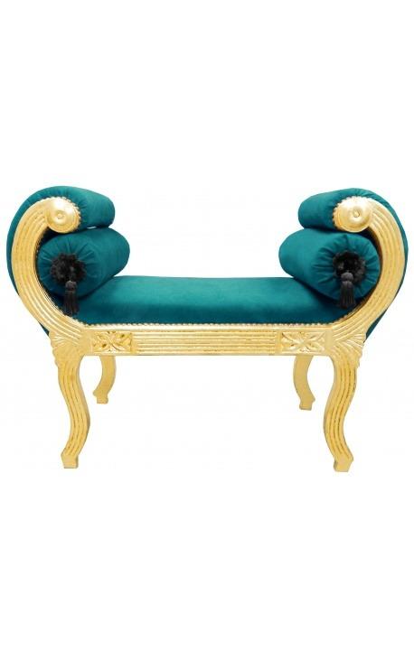 Roman bench Burgundy velvet fabric and gilded wood
