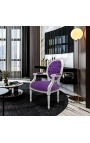Baroque armchair Louis XVI style purple velvet and silvered wood