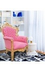 Grand fauteuil de style Baroque tissu velours rose et bois doré