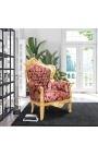 """Grand fauteuil de style baroque tissu """"Gobelins"""" rouge et bois doré"""