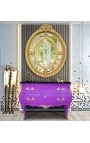 Baroque chest of drawers (commode) of style Louis XV purple and black top with 2 drawers