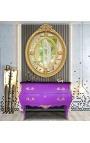 Барокко комод стиля Людовика XV фиолетовый и черный топ с 2 ящиками