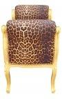 Скамейке стиле Louis XV ткань леопарда и золочеными Вуд