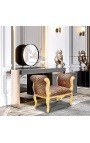 Baroque Louis XV bench leopard fabric and gold wood