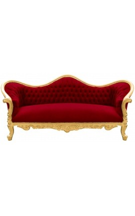 Baroque Sofa Napoléon III burgundy velvet and gold wood
