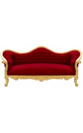 Canapé baroque Napoléon III tissu velours bordeaux et bois doré