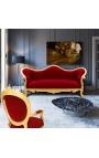 Baroque Sofa Napoléon III burgundy velvet and gold wood