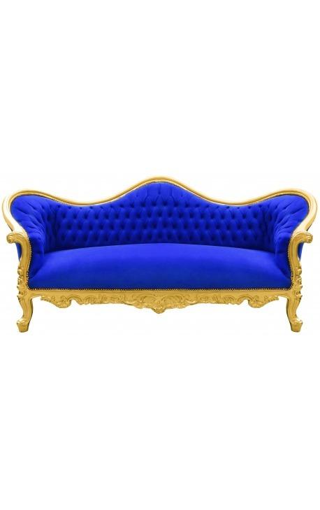 Baroque Sofa Napoléon III bleu velvet and gold wood