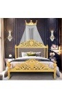Bed canopy in wood gilded crown-shaped