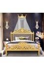 Ciel de lit en bois doré à la feuille