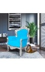 Big baroque style armchair turquoise velvet fabric and silver wood