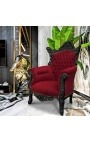 Grand Rococo Baroque armchair burgundy velvet and glossy black