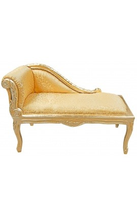 Louis XV chaise longue gold satin fabric and gold wood
