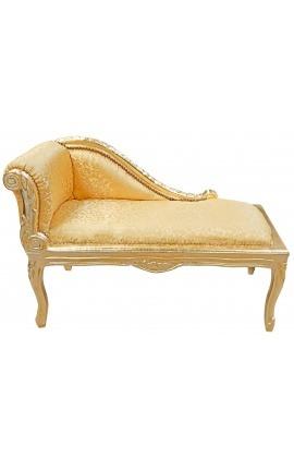Méridienne de style Louis XV tissu satiné doré et bois doré