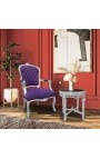 Baroque armchair of style Louis XV purple and silvered wood