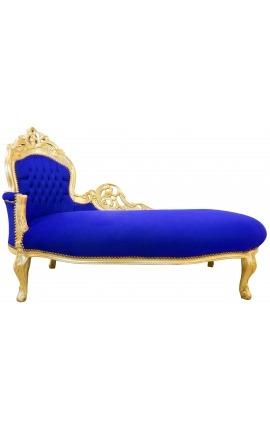 Grande méridienne baroque tissu velours bleu et bois doré