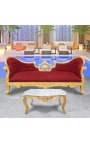 Coffee table baroque style gilded wood with white marble
