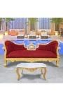 Canapé baroque Napoléon III tissu velours rouge bordeaux et bois doré