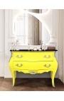 Commode baroque de style Louis XV jaune fluo et plateau noir avec 2 tiroirs