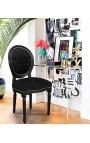 Chaise de style Louis XVI velours noir et bois noir